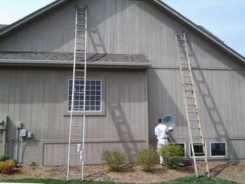 Exterior painting in Platte Woods, MO.
